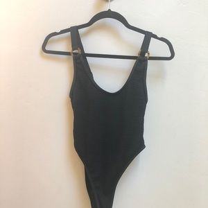 Nasty Gal Ribbed High Leg One Piece